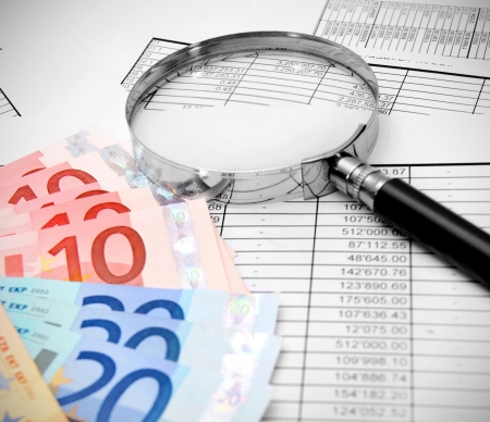 Magnifiers and euro on documents