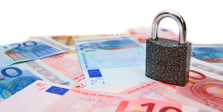 Lock for euro banknotes. On a white background. photo