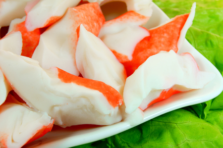 crab meat: Meat of a crab and greens. Stock Photo