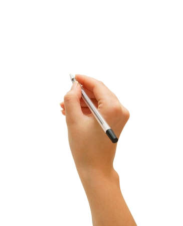 cau: Hand and pen. On a white background. Isolated.