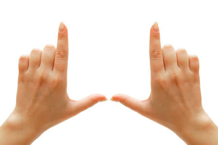 jointly: Hands. On a white background. Isolated.