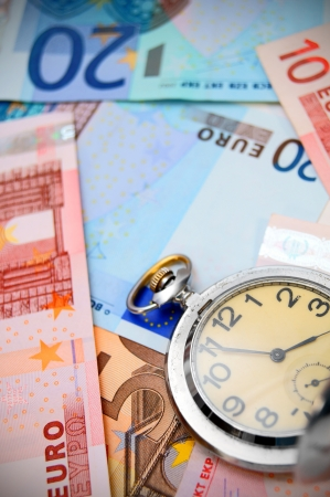 money in pocket: Watch on the euro banknotes.