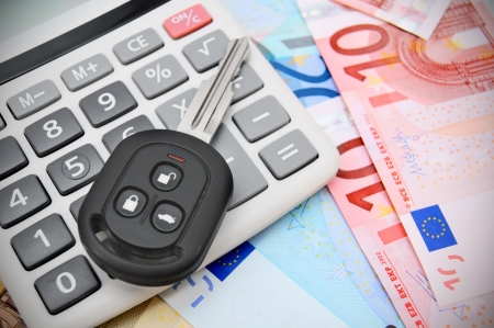 The calculator and key car