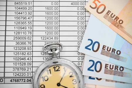 Watch and euro on documents. photo