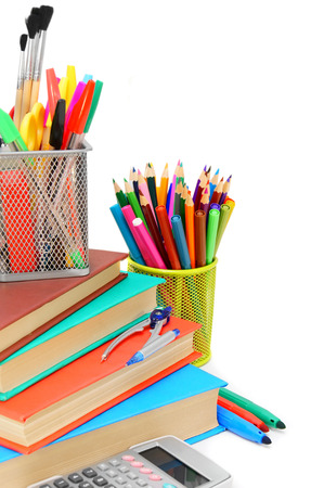 Back to school. School accessories. On a white background.