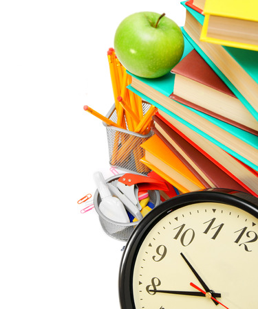 Watch, an apple, books and school accessories photo