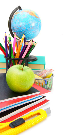 Back to school. School tools on a white background. photo