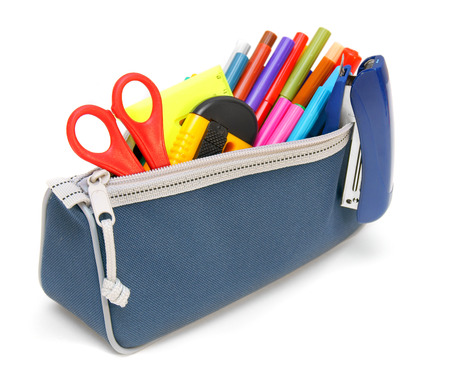 pencil case: Bag with school tools on a white background.