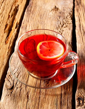 pomegranate tea with a lemon. photo