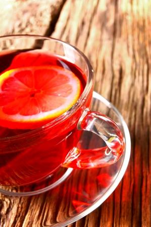 pomegranate tea with a lemon. photo