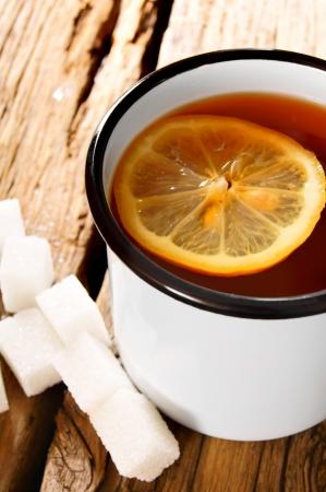 sparce: Black tea with a lemon and sugar.