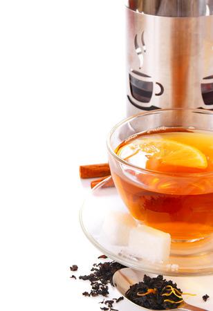 Tea with a lemon.  photo