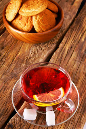 Pomegranate tea with Cookies. photo