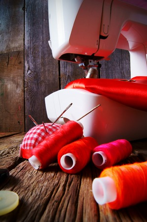 Sewing background. Tools for an embroidery. Stock Photo