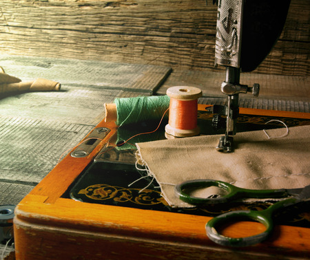 The sewing machine and tools. Vintage sewing . photo