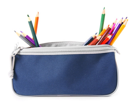 pencil box: Bag with school tools on white background.