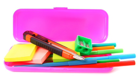 Case and school tools. On white background. photo