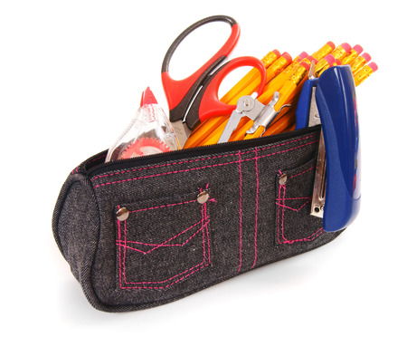 Bag with school tools on white background. photo