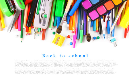School tools and accessories on white background. With your place for the text. Stock Photo