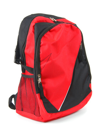 haversack: School backpack. On a white background.