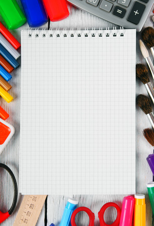 Notebook and school tools. photo