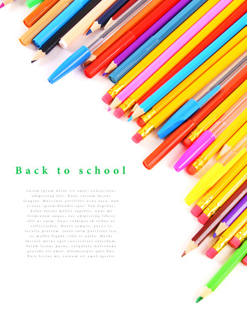 School tools and accessories on a white background. photo