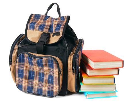 School backpack and books. photo