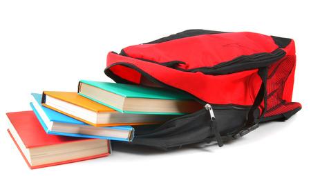 Schoolrugzak en boeken.