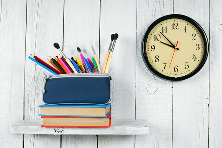 show cases: Watches, books and school tools.
