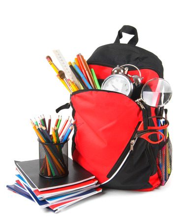 School backpack and school tools. photo
