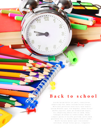 School tools and accessories on white background. photo