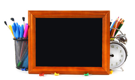 Framework and school tools. On white background. photo