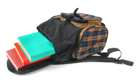 School backpack and books. On white background. photo