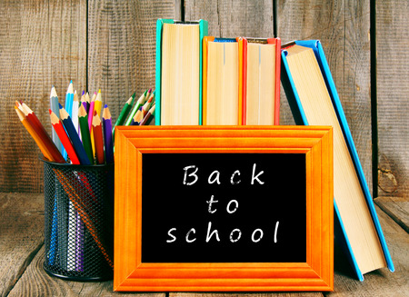 fine tip: Back to school. Books and school tools. Stock Photo