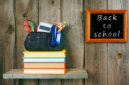 show cases: Back to school. Books and school tools .