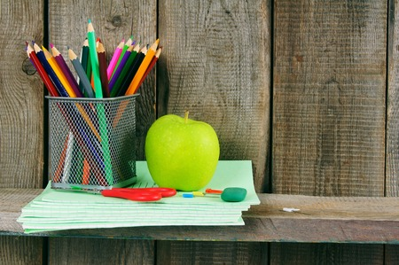 fine tip: Apple and school accessories. Stock Photo