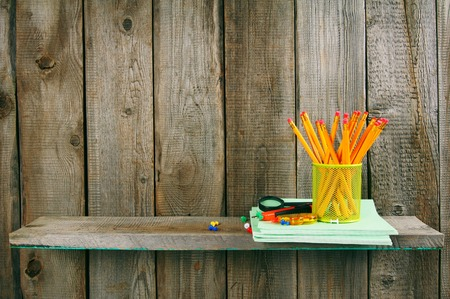 fine tip: School accessories. On wooden background. Stock Photo