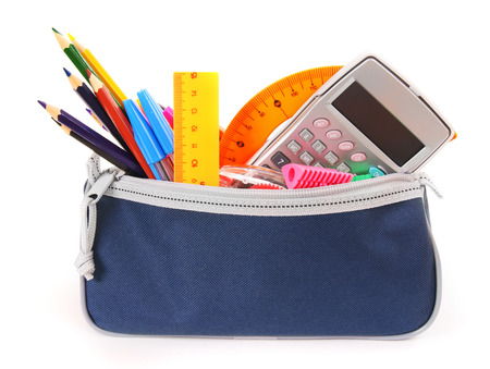 Bag with school tools on a white background. photo