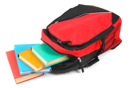 학교 배낭과 책.