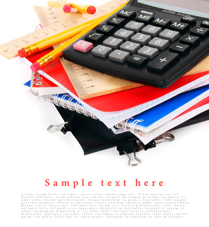 School tools on a white background. With your place for the text. photo