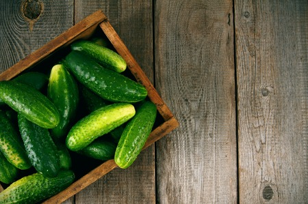 Cucumbers in a box on wooden background. Stockfoto