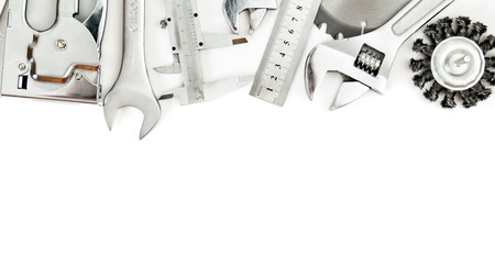 Metalwork. Wrench, caliper, measure and others tools on white background. photo