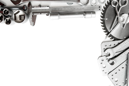 metalwork: Metalwork. Ruler, wrench, screw and others tools on white background. Stock Photo