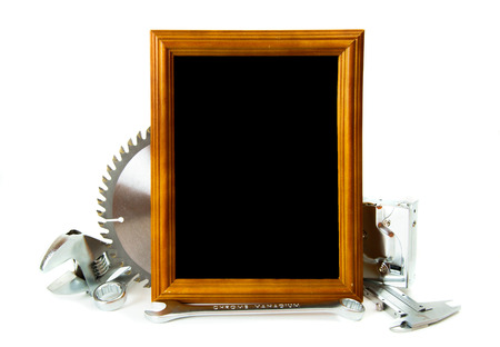 Working tools and frame on white background. photo