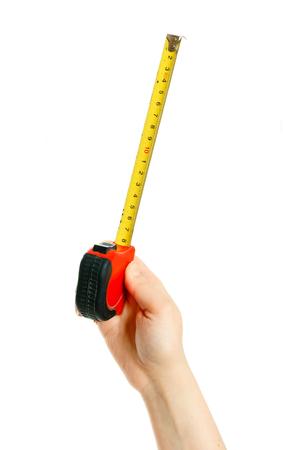 measuring instrument: Measuring instrument  in hand on white background.