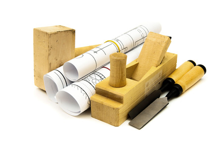 Construction house. Repair work. Joiners works. Drawings for building and working tools on white background. photo