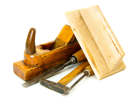 Vintage working tools on white background. photo