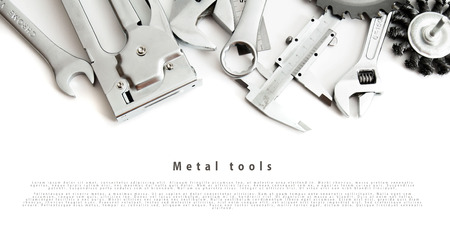 metalwork: Metalwork. Ruler, caliper and others tools on white background.