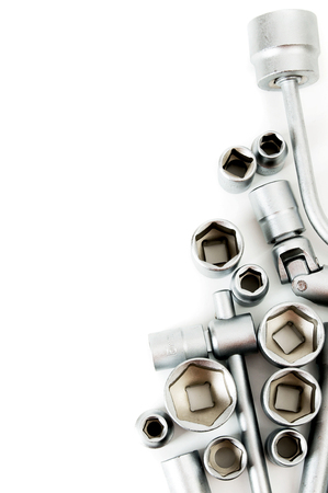 capping: Metalwork. Set spanner on a white background. Stock Photo