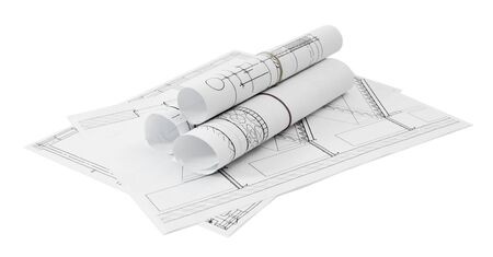home addition: Construction house. Repair work. Drawings for building on white a background. Stock Photo